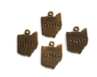 6x Antique Brass / Brown Patina Engraved Ohio State Charms - M057/AB-OH