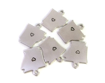 2x Silver Plated Arkansas State Charms w/ Hearts - M070/H-AR