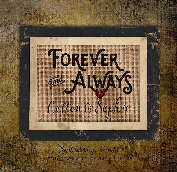 Forever and Always | Red Heart | Burlap Print | Personalized | #0003