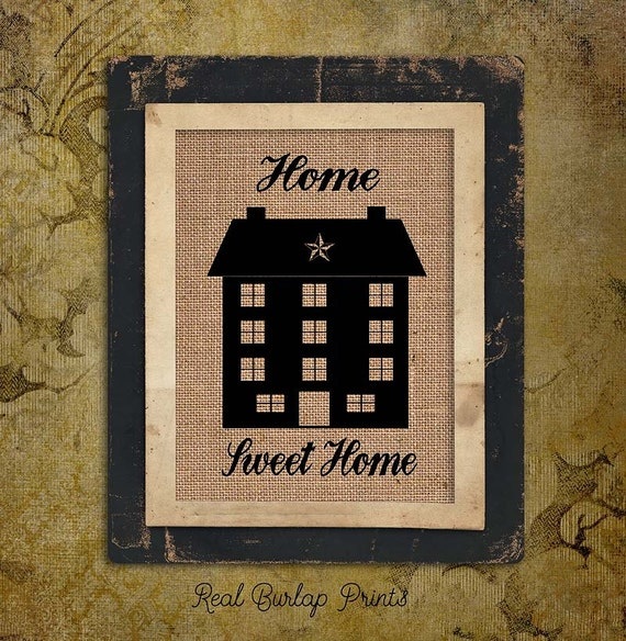 Home Sweet Home | Primitive House | Star | Burlap Print | Personalized |  #0065-2