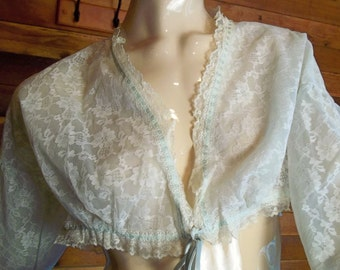 Vintage Lingerie 1950s OLGA  Bed Jacket White Lace Blue Chiffon Lining Medium 9720