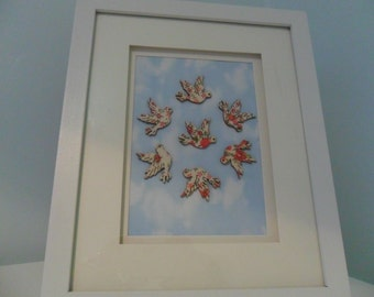 Doves picture in white frame