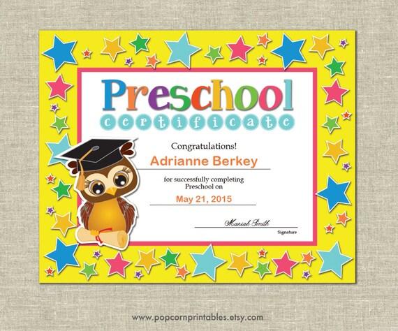 preschool graduation diploma certificate instant download
