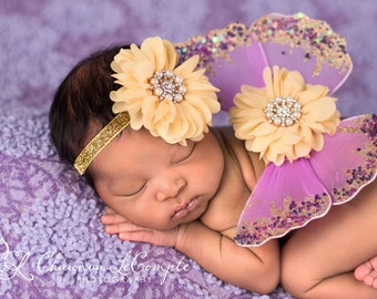 Lavender and Yellow Butterfly Wing Set, Newborn Wings, Newborn Wing Prop, Baby Wing Prop, Newborn Photo Prop, Newborn Butterfly Wings
