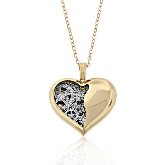 Gold open heart pendant 10k solid gold clock gear heart like this item aloadofball Gallery
