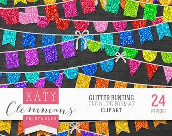 GLITTER BUNTING digital clip art pack. Printable textured bunting garlands, sparkle effect, scrapbook art - instant download.