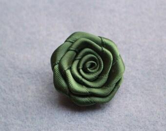 Olive green flower lapel pin