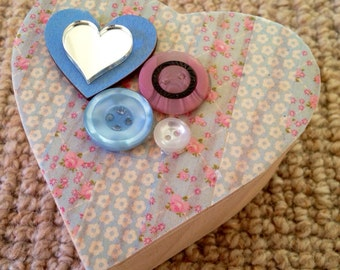 Retro flower print wooden heart trinket box with mirrored heart and vintage buttons