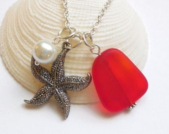 Lg. Cherry Red Sea Glass Necklace, Charm necklace, Pearl,Starfish Necklace,bridesmaid necklace, beach wedding. FREE SHIPPING within the U.S.