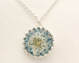 Silver plated necklace with dried blue flowers pendant // Handmade in Quebec