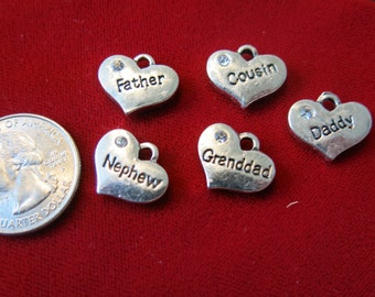 """5pc """"family"""" charms in antique silver style (BC495)"""
