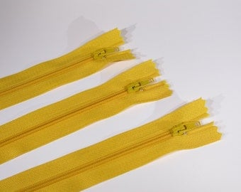 10pc zipper 20cm / 8inch yellow closed end (Z5)