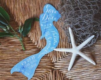 Mermaid Save the Date - Vintage Typography