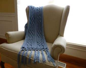 Blue Celtic Weave Shawl with Fringe