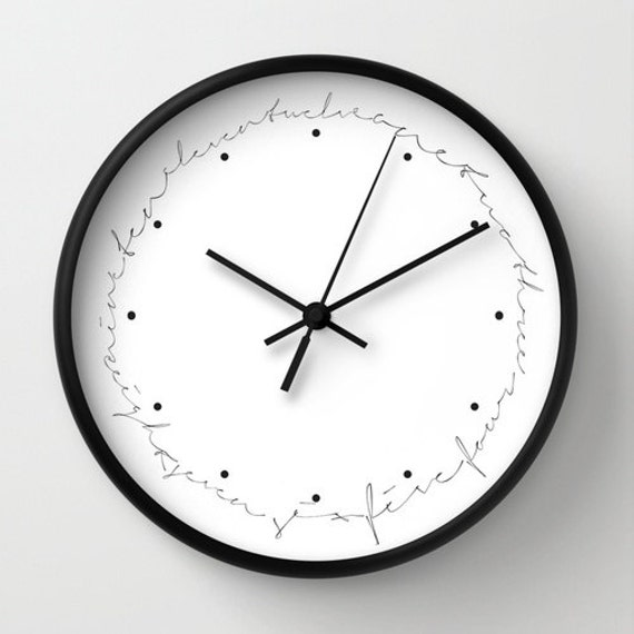Written Numbers Wall Clock Numbered Wall By