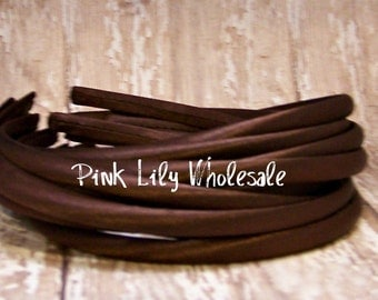 FOUR Brown Satin Covered Headband - Headband Blank - Satin Headband - Plain Headband - Plastic Headband - Wholesale - DIY - Craft