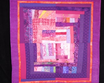 "Modern, improvisational wall hanging in pinks and purples. 31"" x 33"""