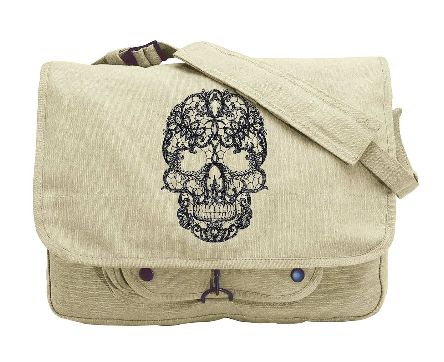 lacy skull embroidered canvas messenger bag