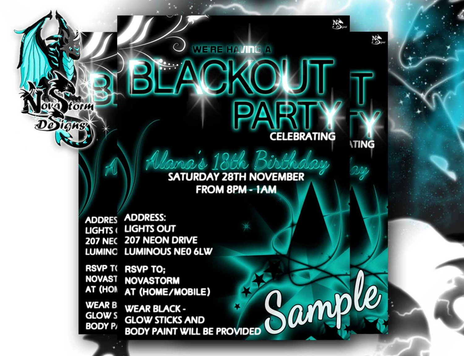 Blackout Party Invitations UV Glow Dance Party Blacklight – Dance Party Invites