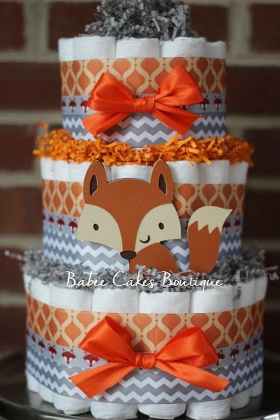 tier fox diaper cake boys woodland baby shower fox baby shower decor