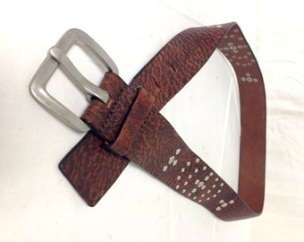 Free Ship Leather belt studded w/Silver Tone Buckle