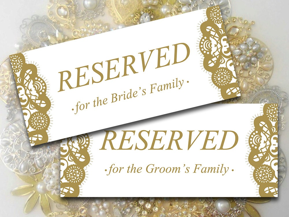Printable Wedding Reserved Card Template Instant Download
