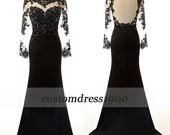 Black long sleeve evening dress,cap sleeve evening dress/formal women dress,handmade beading prom dress