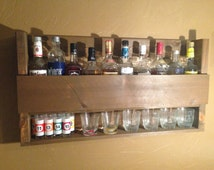 Rustic 10 Bottle Liquor Rack, Whiskey Shelf with Cocktail Glass and Shot Glass Holder