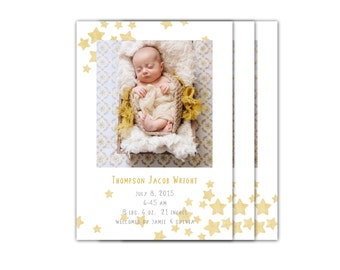 Birth Announcement Boy // Birth Announcement Girl // Baby Boy or Girl Announcement // 5x7 Printable Photo Birth Announcement // The Thompson