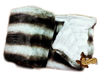 FUR ACCENTS Faux Fur Throw Blanket  / Reversible / Minky Cuddle Fur  / Black Brown and Gray Chinchilla Stripe