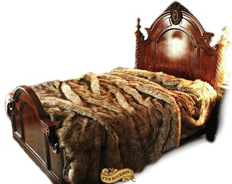 FUR ACCENTS Faux Fur Bedspread / Light Brown Coyote Fur / Throw Blanket / Comforter