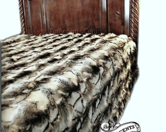 Luxury Faux Fur Bedspread - Exotic White Gray and Black Rabbit - Backed with Softest Minky Cuddle Fur - Fur Accents Original Designs USA