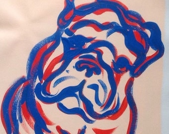 Bulldog puppy original painting 12 x 16 dog wall art
