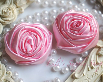"""2"""" Large Satin Ribbon Roses - Set of Two -Rolled Rosettes - Light Pink Satin Rolled Rosettes - Large Satin Roses - Light Pink Satin Flowers"""