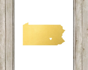8x10 Pennsylvania State Print, State Art, Metallic Gold Printable Art, Pennsylvania Poster, Office, Home Decor, Instant Digital Download