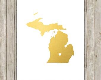 8x10 Michigan State Print, Geography Wall Art, Metallic Gold Art, Michigan Poster, Office Art, Home Decor, Instant Digital Download