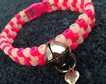 UV Pink and Glow Peyote Kandi Collar and Leash