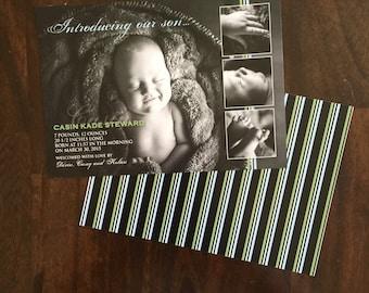 5x7 Photo Custom Baby Boy Birth Announcement in Blue & Green