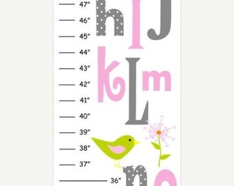 SALE Personalized Abc Owl Canvas Growth Chart