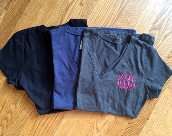 The Perfect Monogrammed V-Neck Short-Sleeved T-Shirt!  Comfortable, Stylish, and Great For Work or Play!