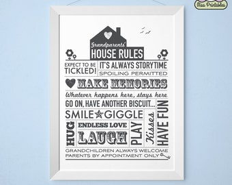 Grandparents' House Rules printable poster in 5 colors. Instant download. Perfect christmas family gift for your loved one. Half price