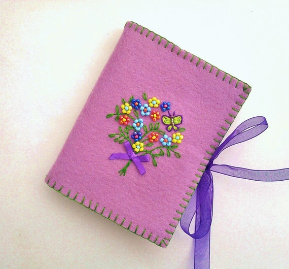 Wool felt needle book embroidered and beaded flower