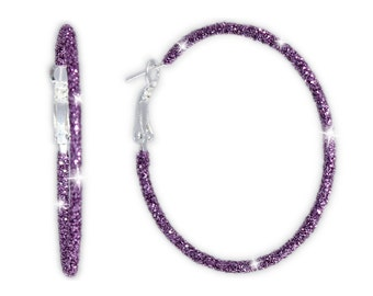 Sparkly Twinkling Lilac Purple Glitter Large Steel Hoop Earrings, 2 Inch Diameter, Christmas, Holidays