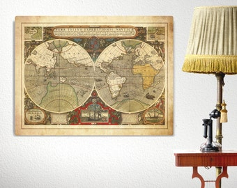 Old World Map Nautical Canvas, Antique Sailing Canvas World Map, Large Canvas Print, Nautical Map Art, Sailing Decor, Nautical Canvas Print