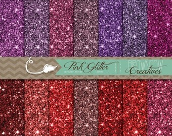 Pinks and Reds Glitter Digital Paper