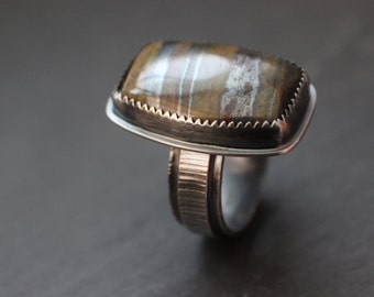 """Sterling Silver Tiger Iron Ring - Metalsmith Artisan Jewelry - Bezel Set Natural Stone Chunky Ring Statement Ring - """"gray"""""""