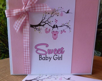 Greeting Card - Sweet Baby Girl - Baby Card - Handmade, Baby, Baby Girl, Pink, baby clothes, Branch, tree, Congratulations, Birth