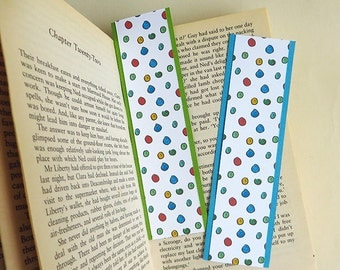 Handmade paper bookmarks, Illustrated with Happy Colourful Bubbles, gift under 5