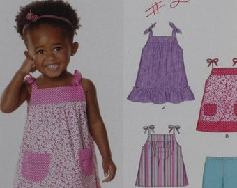 New Look Kids 6796 Pattern Toddler Girl Summer Dress, Top & Pants Sizes 1/2, 1, 2 Easy