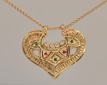 Fine Jewelry Necklace , 14k Gold Necklace , Solid Gold Pendant , Antique Style Pendant , Fine Jewelry